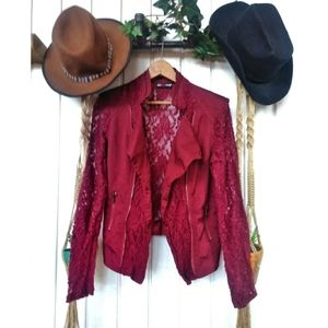 Red Snap maroon lace Moto style blazer
